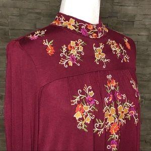 Cupio burgundy embroidered top